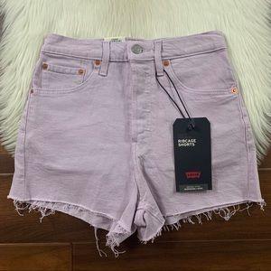 Levi's Purple Ribcage High Rise Denim Jean Shorts